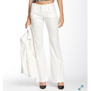 Alice + Olivia Linen Blend Wide Leg Metallic Pants
